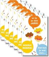 6 MAP wenskaarten met envelop - Jarig - Hoera - 15 x 10 cm