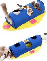 Kattentunnel - Inclusief Speeltjes - 105x61cm - Speelgoedbal - Speeltunnel - Katten - Kittens - Rocket - Blauw