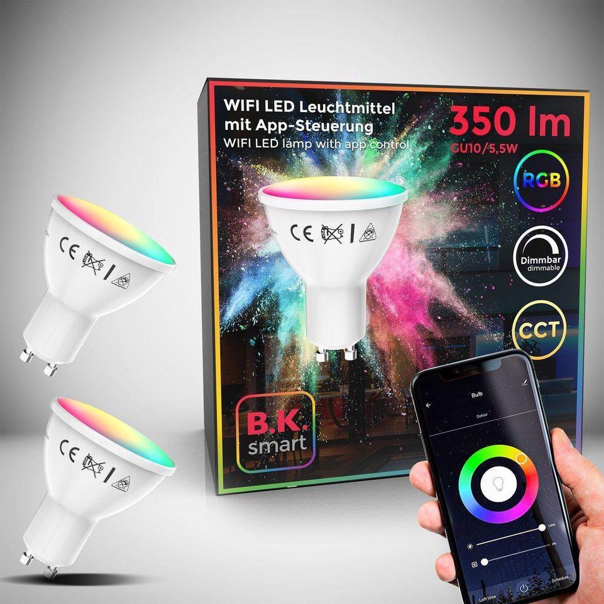 B.K.Licht - Slimme Lichtbron - RGB en CCT - set van 2 - smart lamp - met GU10 - 5.5W LED - WiFi - App - 2.700K to 6.500K - 350 Lm - voice control - color lampjes - LED lamp
