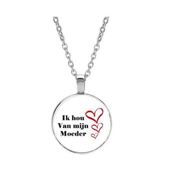 Ik hou van mijn moeder ketting - sleutelhanger - gift - geschenk - familie - mama - cadeau - kado - gezin - moeder - mams - moederdag - hartje - liefde - feestdag - verassing + Geschenkzakje