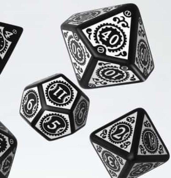 Thumbnail van een extra afbeelding van het spel Steampunk Clockwork Black & white Dice Set