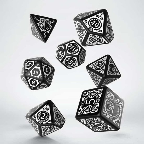 Afbeelding van het spel Steampunk Clockwork Black & white Dice Set