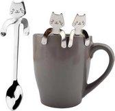 4 Theelepels Hangende Kat - Katten Koffielepel - RVS - Zilverkleurig