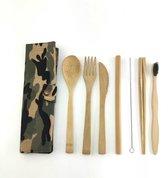 Legerprint - Luxe bamboe bestek set- 9 -delig - Met Tandeborstel - Milieuvriendelijk - 1 persoons - Servies - Camouflage - Herbruikbaar ♻