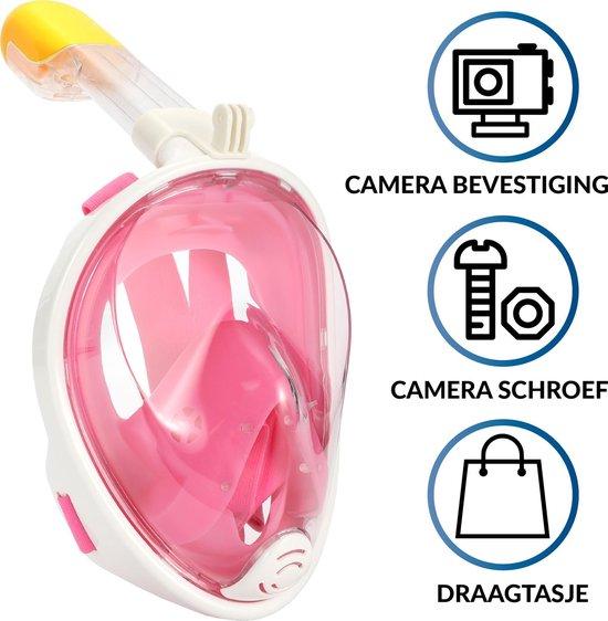 Gadgy Duikmasker Kids - Full face duikbril met snorkel - snorkelset roze - snorkelmasker