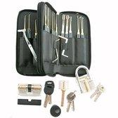 Volledige Lockpick Set Voor Beginners En Gevorderden met Luxe Lederen Hoes - Lock pick set - incl 3x oefensloten + 2 covers -  oefenslot - Zwart 2021