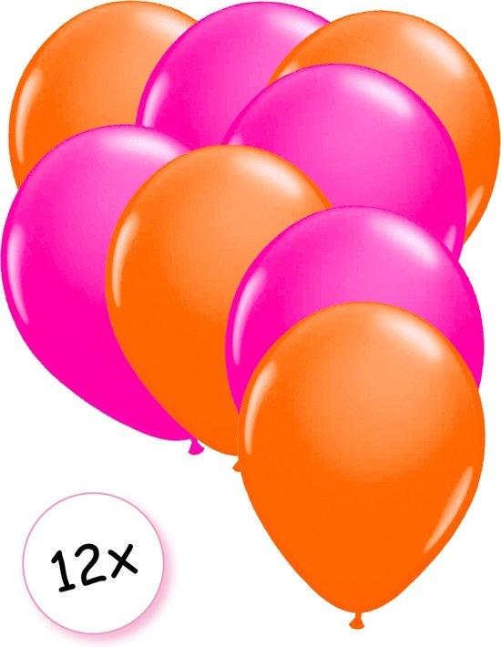 Ballonnen Neon Oranje & Neon Roze 12 stuks 25 cm
