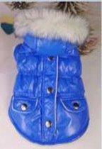 Jas gevoerd met muts en drukkers in de kleur blauw
