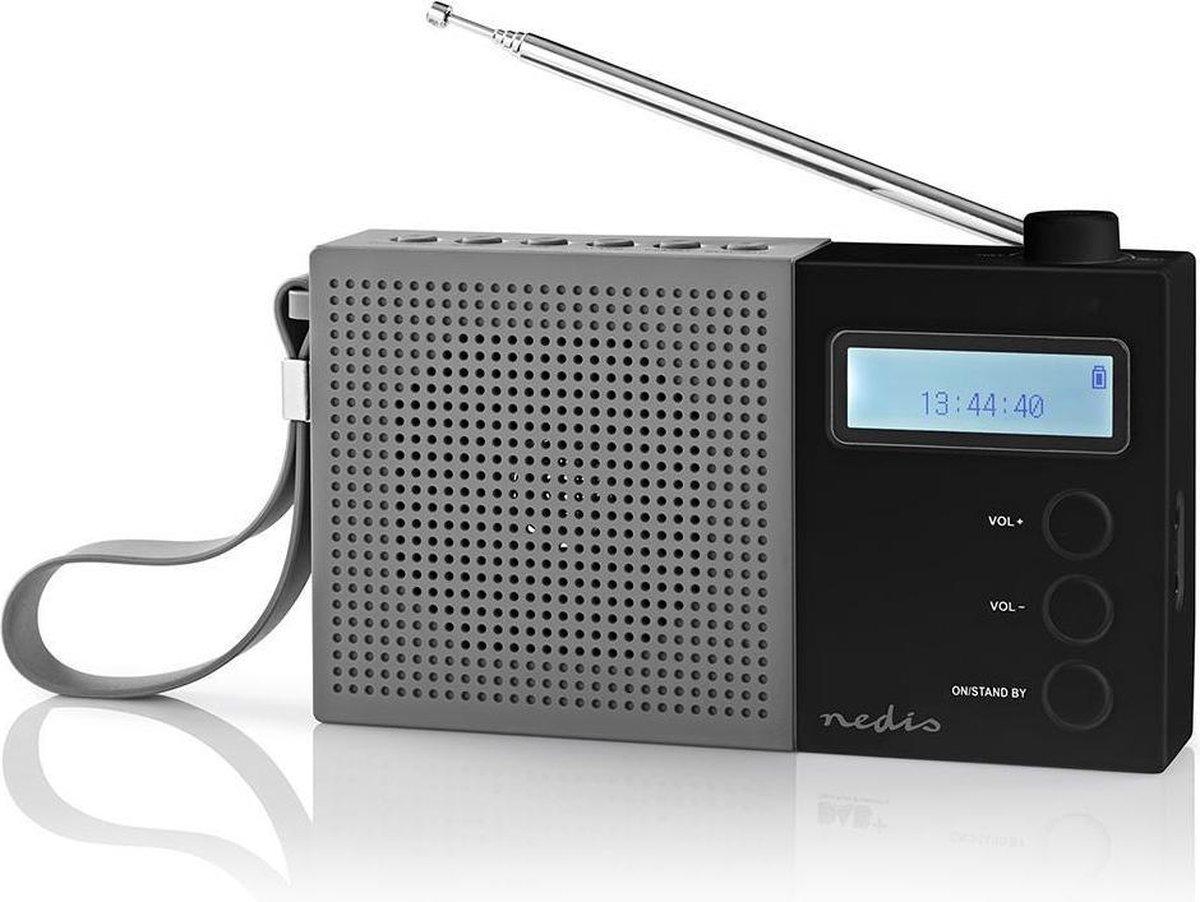 Nedis portable DAB+ radio met klok en wekker / grijs/zwart