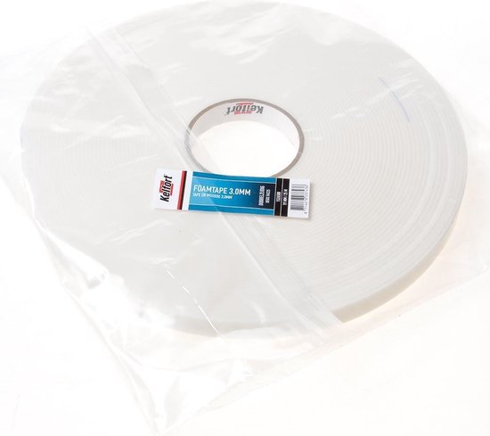 Foam tape dubbelzijdig 3.0mm x 19mm x 25 meter