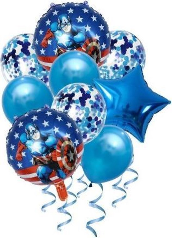 Captian America | Ballonnen set 9 stuks | Feestversiering