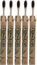 Set van 5 Natuurlijke Bamboe Tandenborstels - Duurzaam - Ecologisch - Zachte Haren - 100% duurzaam - Houtskool Haren - Kwalitatieve Tandenborstel uit Afbreekbaar Bamboo