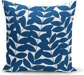 Woonkamer sierkussen blauwe bladeren - uniek ontwerp -Kussens woonkamer -...