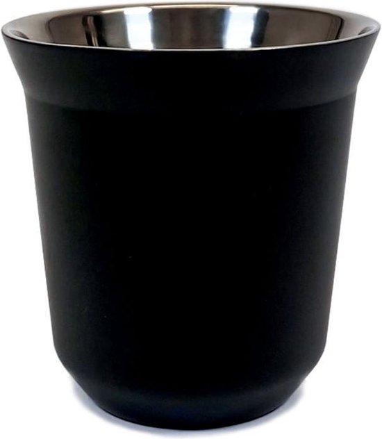 Krumble Espressokopje staal 80ml staal - Koffie langer warm houden in dit stalen kopje - Zwart - Luxe espressokopje
