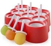 Zoku Icelolly Pop Maker mini, 9 stuks Rood