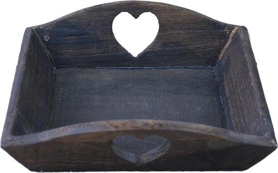 12 stuks - Tray hout PH design 19x19x4cm nw bruin hart