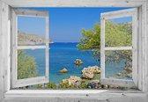 Tuindoek doorkijk door openslaand wit venster baai met parasols - 130x95 cm - tuinposter - tuin decoratie - tuinposters buiten - tuinschilderij