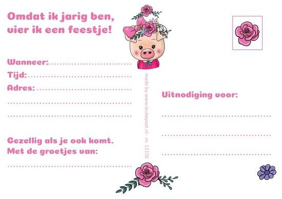 Uitnodigingen voor Kinderfeestje - Set van 10 x uitnodiging - Varkentje - invulbaar