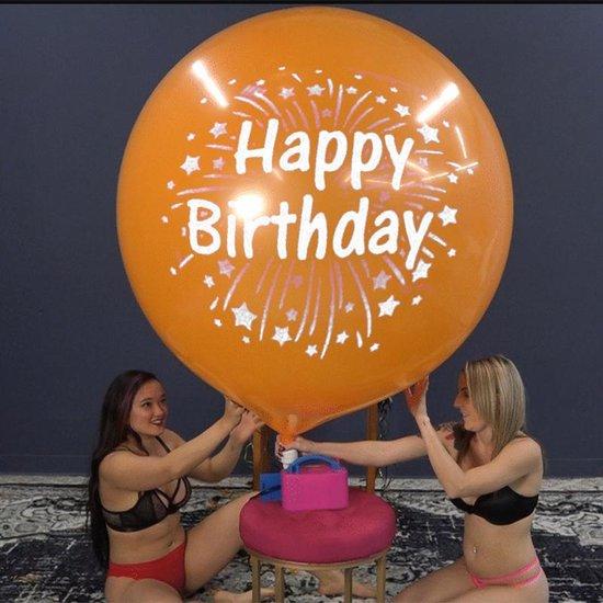 2 Cattex reuze ballonnen - Happy Birthday Print - 36 inch - 90 cm - grote ballonnen
