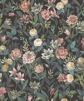 Tendenza | Bloemen en bladeren | oranje, zandkleurig | vinyl op vlies 0,53x10m