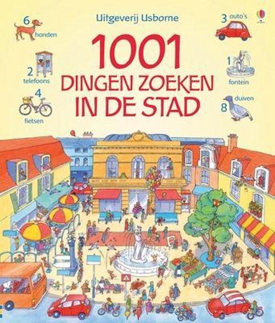 Cover van het boek '1001 dingen zoeken in de stad' van Anna Milbourne
