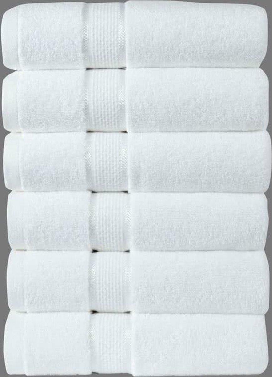 Sleepp Royal - handdoeken - 100% gekamd katoen - Wit - 50x100 cm - 6 stuks - Sleepp