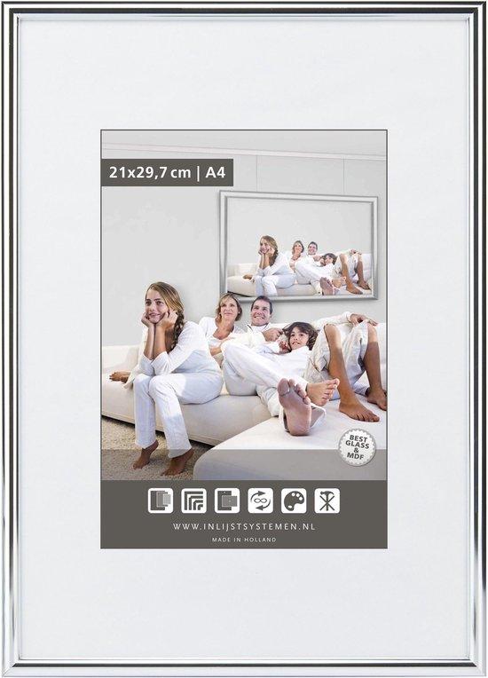 Halfronde Aluminuim Wissellijst - Fotolijst - 40x60 cm - Helder Glas - Hoogglans Zwart - 10 mm
