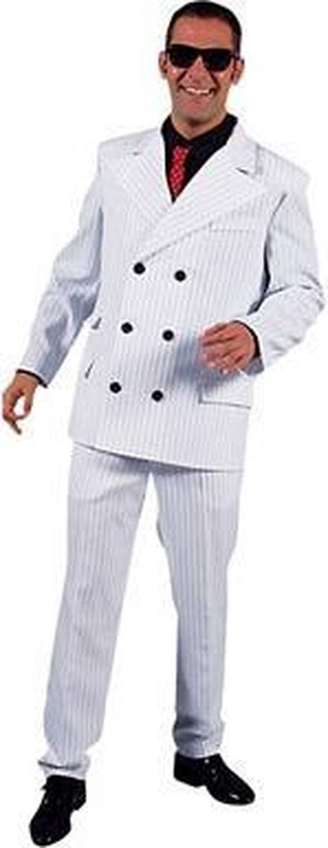 Wit heren gangster kostuum 52-54 (m)