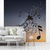 Fotobehang vinyl - Mooie trompet blaast muzieknoten breedte 220 cm x hoogte 220 cm - Foto print op behang (in 7 formaten beschikbaar)