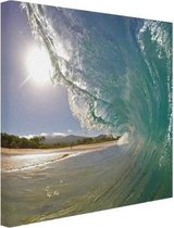 Golven Oceanie  Canvas 60x80 cm - Foto print op Canvas schilderij (Wanddecoratie woonkamer / slaapkamer) / Zee en Strand