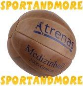 Trenas - Medicijnbal - Medicine bal - Klassische professionele medicijnbal - Leer - 3 kg - Bruin
