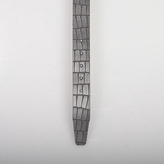 Grijs Leren Riem Van 3,5 cm Breed Met Kroko Print – Dames Riem of Heren Riem – 110 cm (Taillemaat 90 cm)