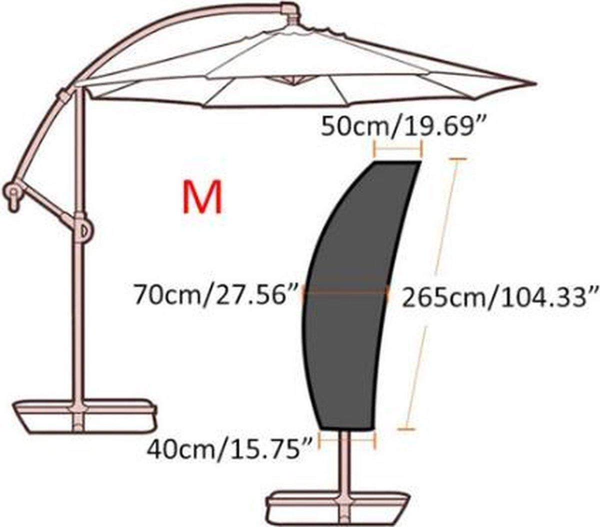 Parasolhoes voor zweefparasol - 265 cm Premium Quality Zwart - diameter parasol 250/350 cm