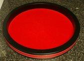 Yathzee Dobbelbak | Dobbelpiste | Dobbelstenenbak | Dobbelbak | Rond Rood Vinyl met Rood Vilt 30cm