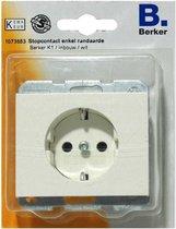 BERKER K1 stopcontact enkel randaarde, inbouw | WIT