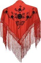 Spaanse manton - omslagdoek - voor kinderen - rood zwart Small - bij Flamenco jurk