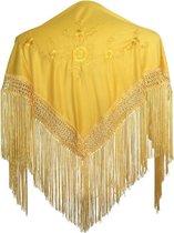 Spaanse manton - omslagdoek - voor kinderen - geel met gele bloemen - bij Flamencojurk