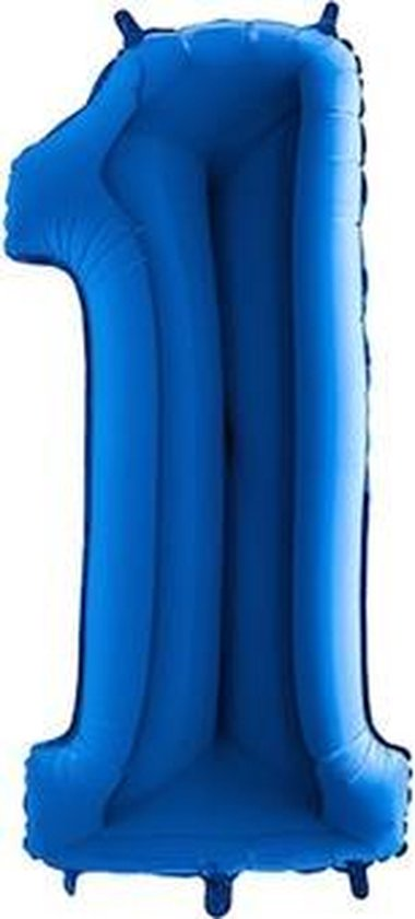 Folieballon cijfer '1' blauw (100cm)