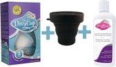 Divacup herbruikbare menstruatiecup - Large - met DivaWash mild reinigingsmiddel - met sterilisator