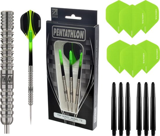 Pentathlon – T2 Groen 24 gram 90% Tungsten – dartpijlen – inclusief bijpassende – darts shafts – en – darts flights