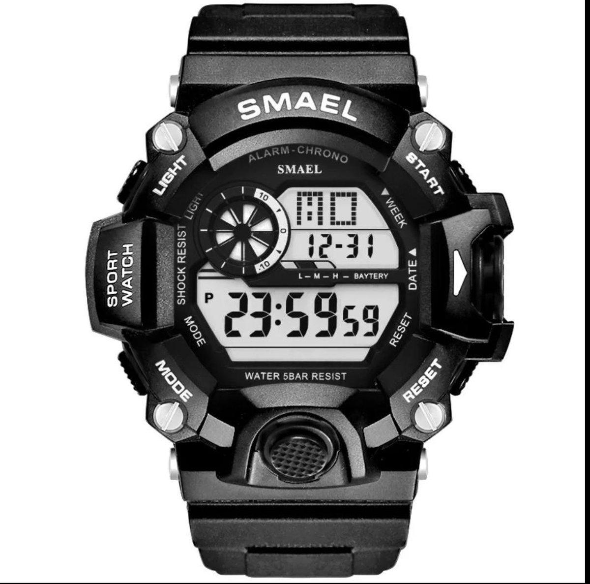 Smael Sport horloge Led Digital waterdicht White Black 1385B - Smael