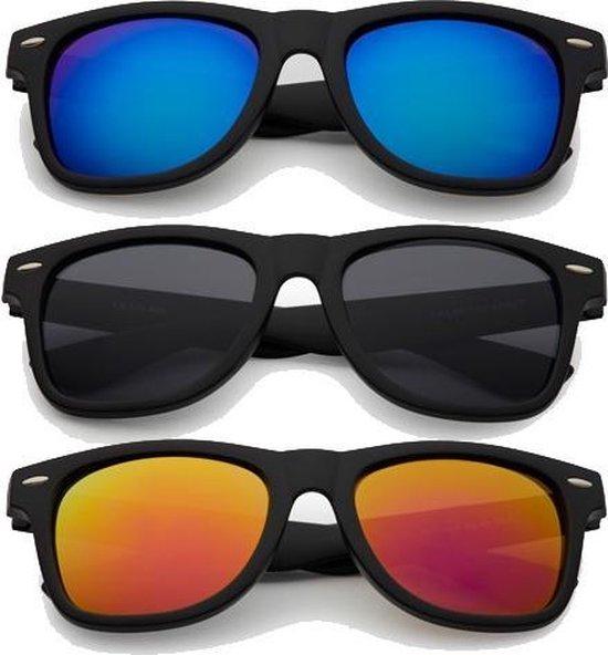 Freaky Glasses® | Wayfarer style zonnebrillen mat zwart - 3 stuks
