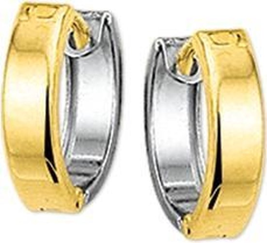 The Jewelry Collection klap-oorringen Hol 5,0 mm Bol - Bicolor Goud (14 Krt.)