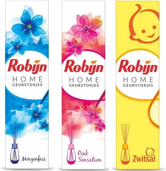 3 stuks - Robijn Home Geurstokjes - Morgenfris - pink - zwitsal - 45 ml