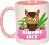 1x Jumping Jack beker / mok - roze met wit - 300 ml keramiek - paarden bekers