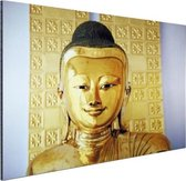 Gouden Boeddha beeld Aluminium 120x80 cm - Foto print op Aluminium (metaal wanddecoratie)