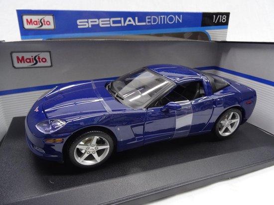Afbeelding van Chevrolet Corvette C6 Coupe 2005 Blauw 1-18 Maisto speelgoed