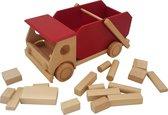 Playwood - Houten vrachtwagen rood inclusief blokken - Kiepauto - Containerauto - Vrachtauto