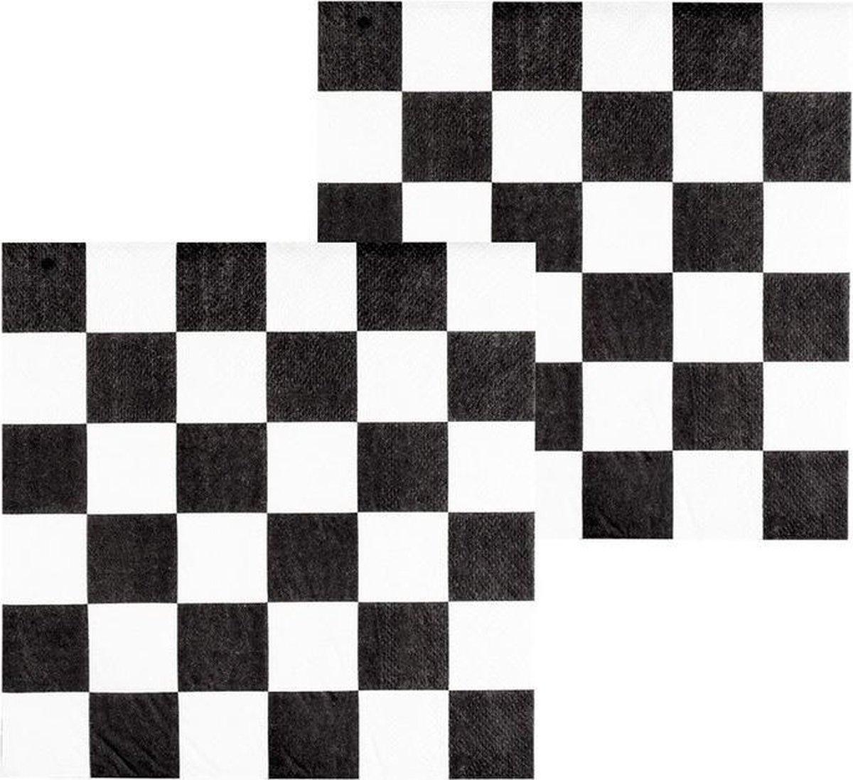 12x Finish auto racing servetten zwart/wit geblokt - tafel feestartikelen en versiering - Merkloos