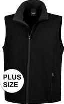 Grote maten softshell casual bodywarmer zwart voor heren - Outdoorkleding wandelen/zeilen - Mouwloze vesten plus size 4XL (48/60)